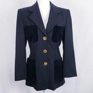 Escada VTG wool blazer velvet pockets gold buttons
